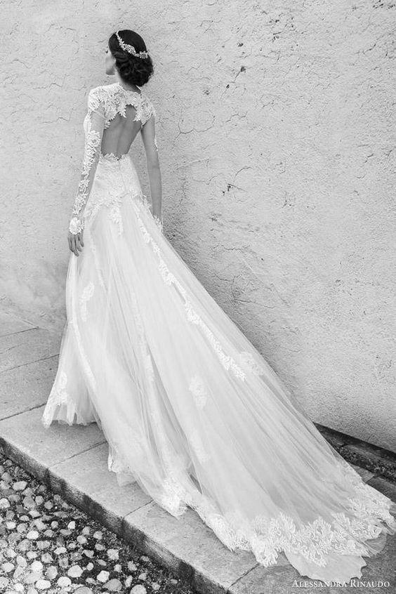 Sheer Long Sleeves Wedding Dresses Vintage Lace Applique Open Back ...