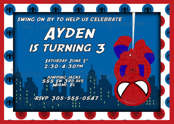 Printable Spider Man Birthday Party Invitation On Etsy 1000