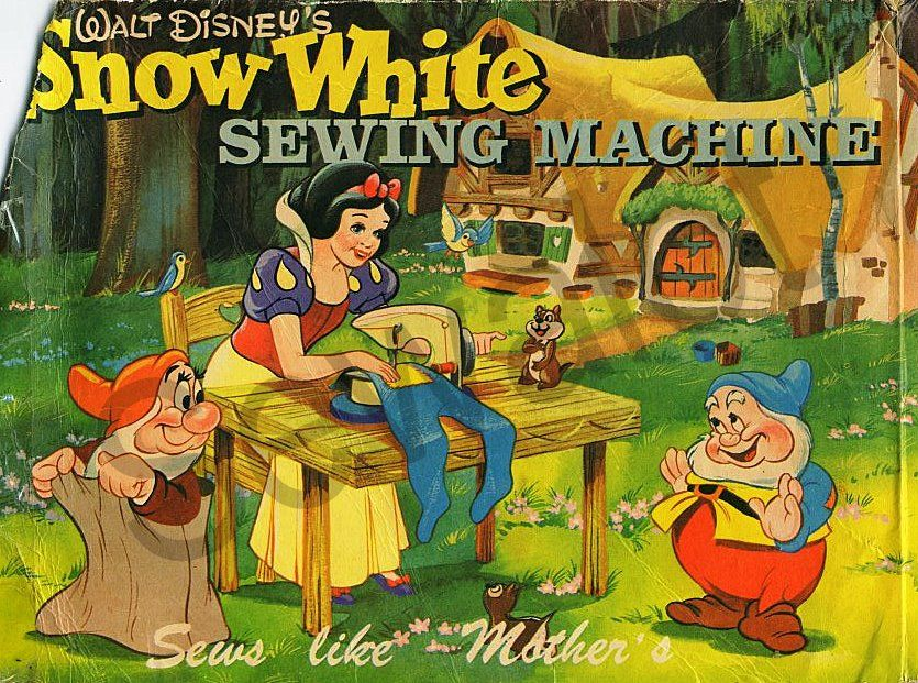 The Snow White Sewing Machine. The super-rare Walt Disney Snow White sewing machine was a little Betty model W4D made in Kent, England. (Snow White was so clever that she could sew with the sewing machine the wrong way round, sitting behind it using her left hand!)