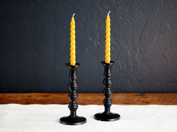 Pair of 100% Pure Beeswax Artisan Spiral Taper Candles, Unscented, Non-Toxic, Sabbath Candles, Church Candles,