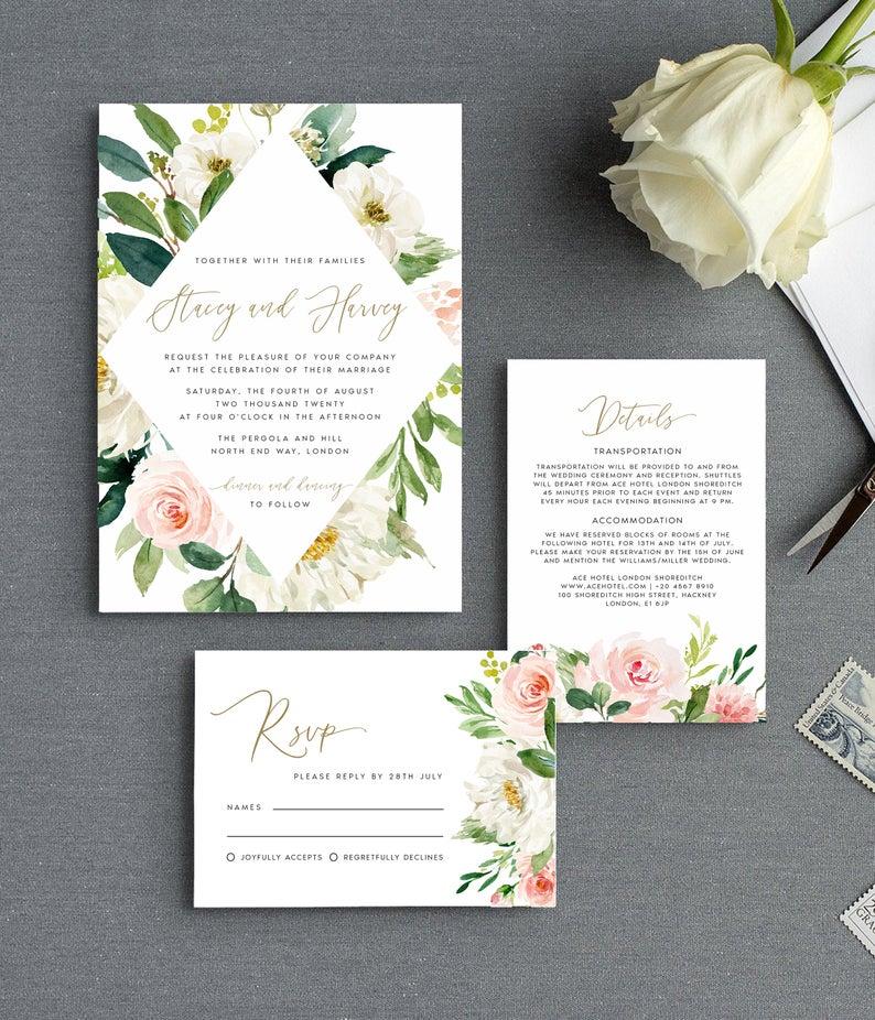 Wedding Invite Template Blush Gold Cream Florals Etsy In 2020 Flower Wedding Invitation Minimal Wedding Invitation Wedding Invitation Sets