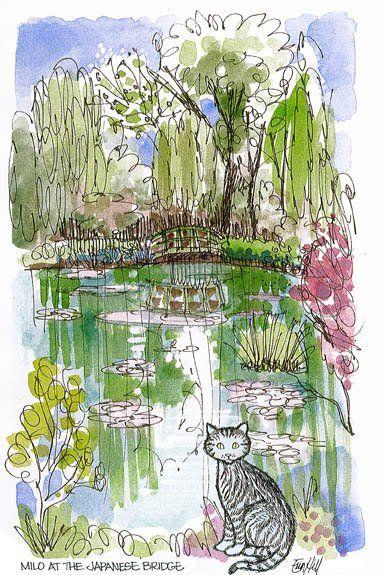 milo the cat at the japanese bridge monets garden - Japanese Garden Bridge Drawing