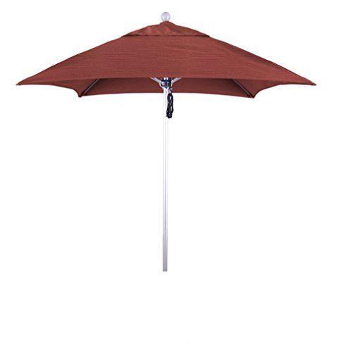 Eclipse Collection 6' Fiberglass Market Umbrella PO DVent Silver Anodized/Sunbrella/Henna