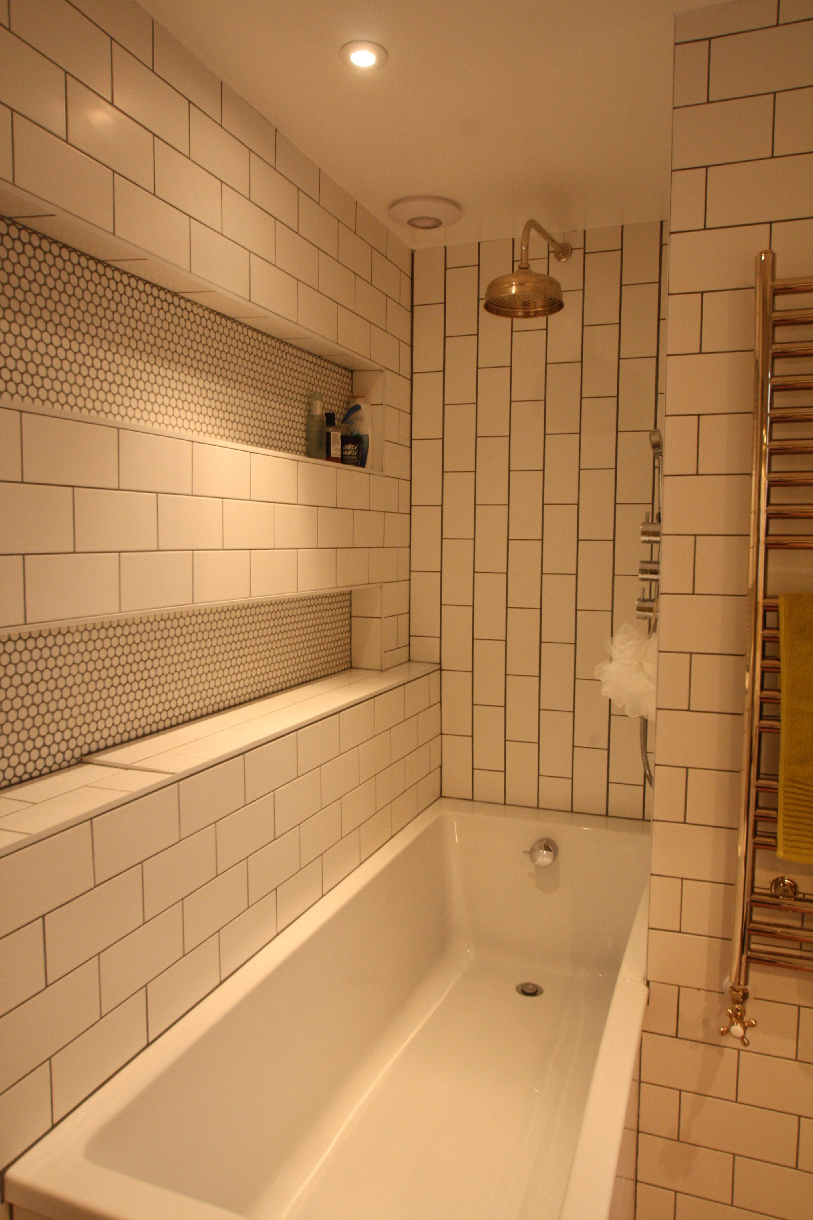 A shower area was created in this bathroom by moving walls, this now ...
