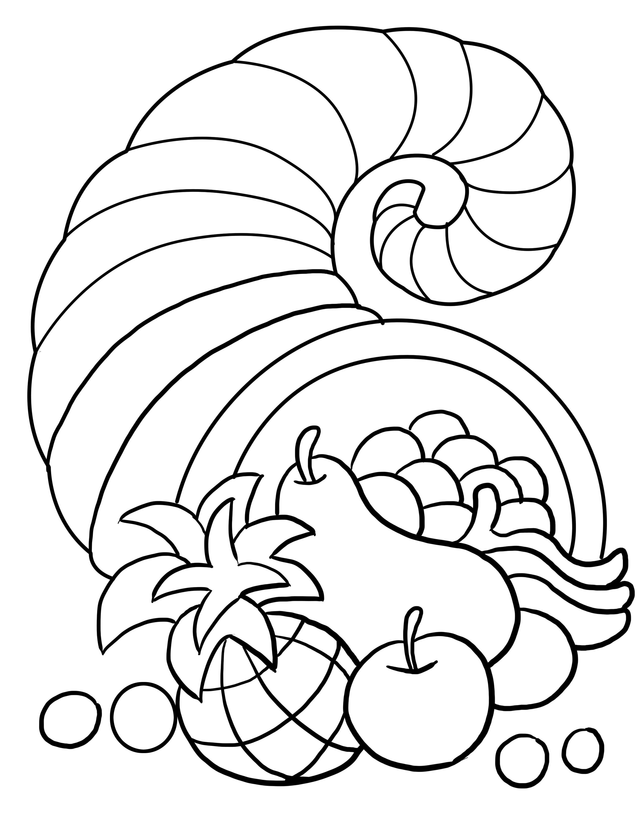 Thanksgiving Cornucopia Coloring Page Fall Pinterest