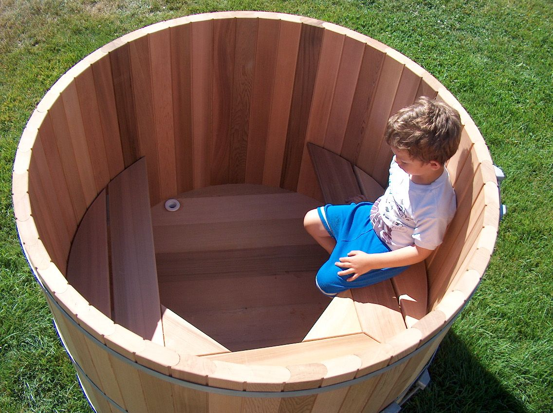 Outdoor Soaking Tub For Two People Wood Barrel Round Soaking Tub - Japanese soaking tub