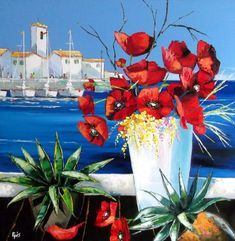 $20.81 · Painting, Oil  by Stéphane EPIS (France). Prints available from $20.81 via #Artmajeur. Licenses available from $33 via #Artmajeur.  #Painting #Oil #EpisStéphane #Coquelicots #Provence #Rouge #Fleurs #Port #Poppies #Vase