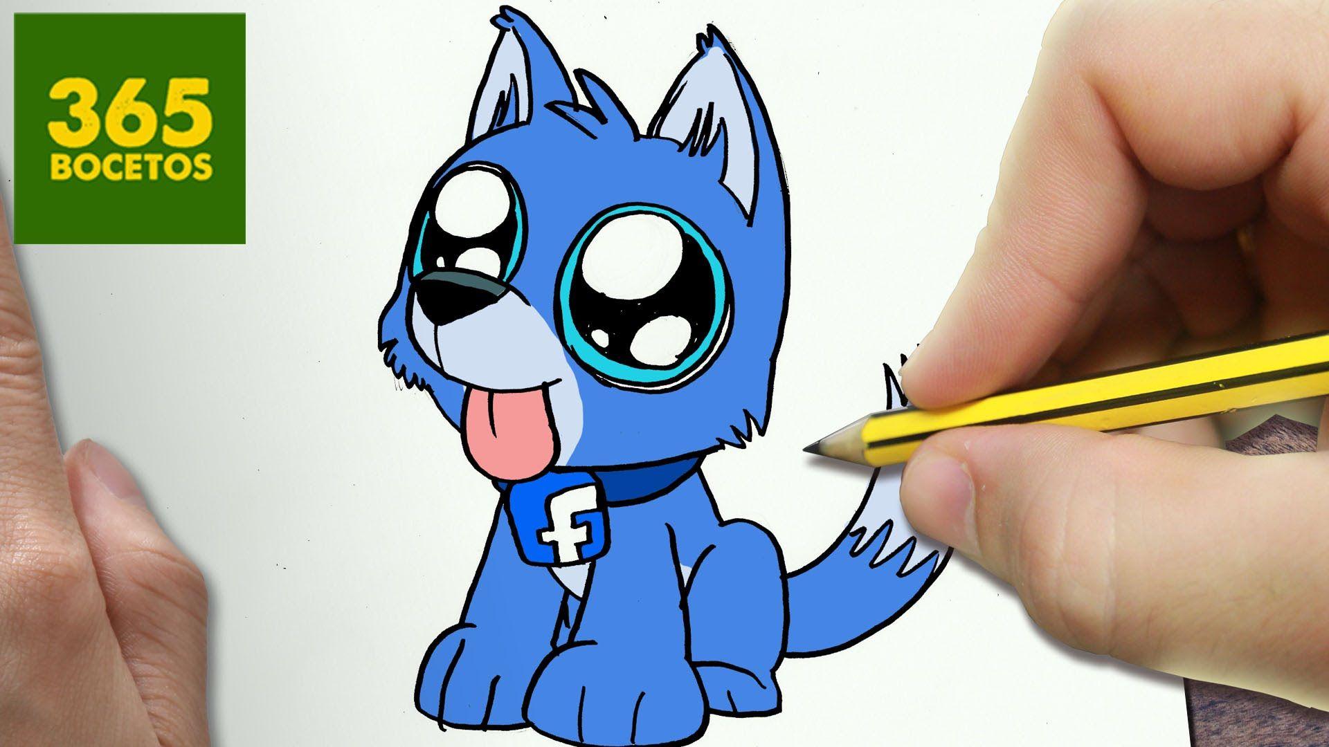 Como dibujar perro facebook kawaii paso a paso dibujos for Comedor facil de dibujar