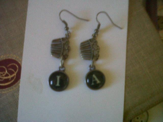 Irene Adler Inspired Earrings Type Writer Keys and Victorian Hair Combs