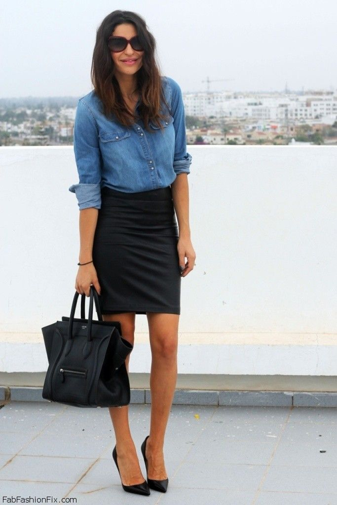 mango denim shirt mango leather skirt and handbag