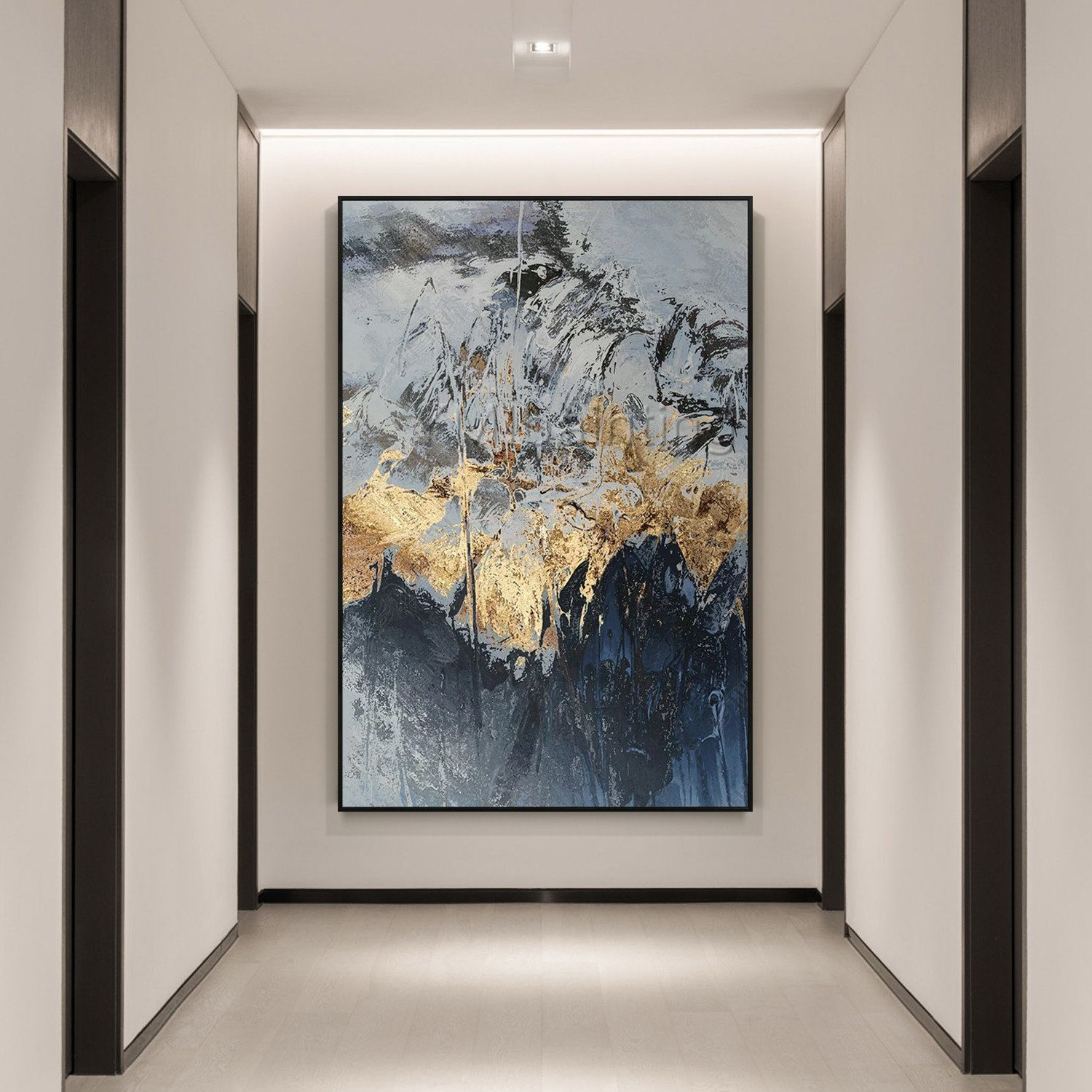 Large Abstract Gold Leaf Moutain Painting Framed Wall Art Paintings On Canvas Acrylic Black Navy Blue Painting Ymipainting Wall Pictures Blau Malerei Abstraktes Gemälde Gemälde Auf Leinwand