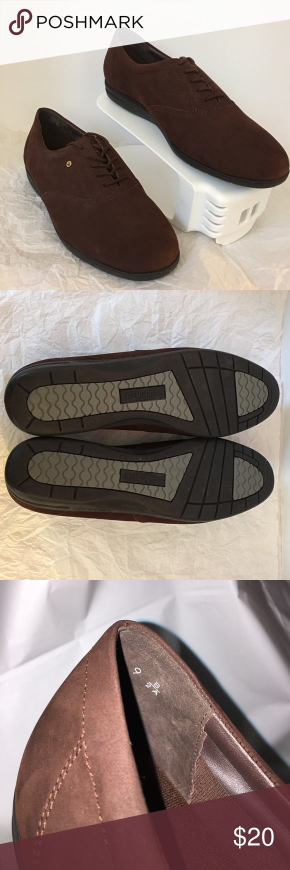 """Suede Easy Spirit shoes 👍new without box 👍NICE Women's Easy Spirit Anti Gravity IO-MOTIONS Walking Shoes-White-9 B/2A  Brand: Easy Spirit  Size: Women's 9 B/2A.  Brown side leather   Approximate Measurements: Bottom of sole- length: 10 1/2"""" width: 3 3/8"""". Smoke and pet free house Easy Spirit Shoes Flats & Loafers"""