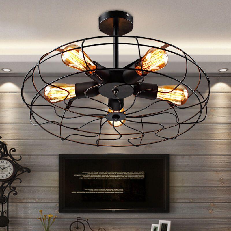 Industrial Vintage Metal Fan Pendant Lamp Steampunk Ceiling Chandelier Light Baycheer Ind With Images Industrial Ceiling Lights Ceiling Lights Flush Mount Ceiling Lights