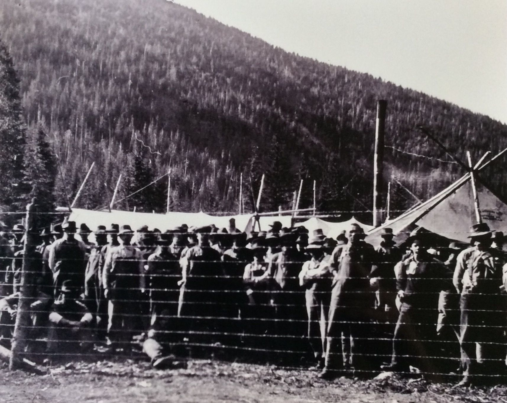 Men detained at the Monashee Mountain internment camp, located roughly 12 km from the Gold Panner Cafe now sits on Highway 6 in Cherryville.