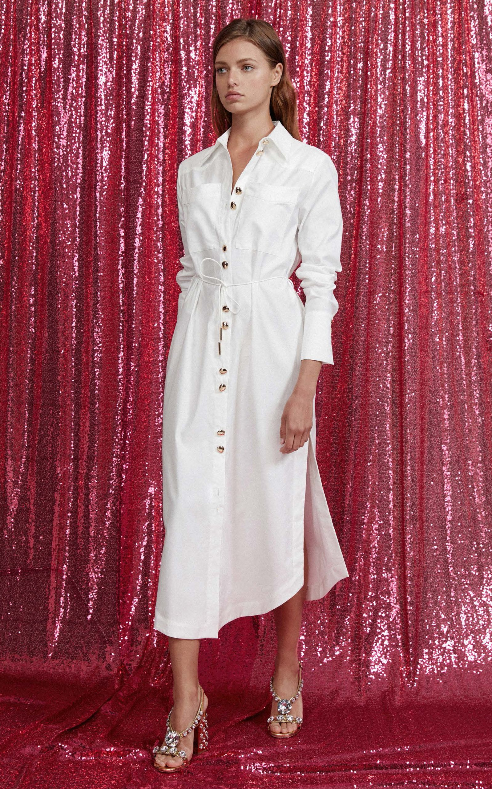 Acler clifford cotton tie shirt dress with images