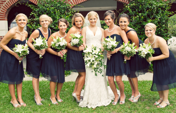 Beautiful Lace Bridal Gown And J Crew Navy Bridesmaid Dresses In Chiffon Diffe Styles With Silver Shoes Photo By Dana Jo Photography Out Of Nc