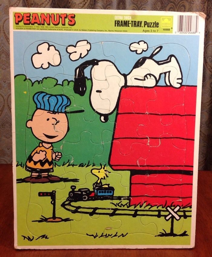 Vintage Peanuts Charlie Brown Snoopy Frame Tray Puzzle Golden Schulz ...