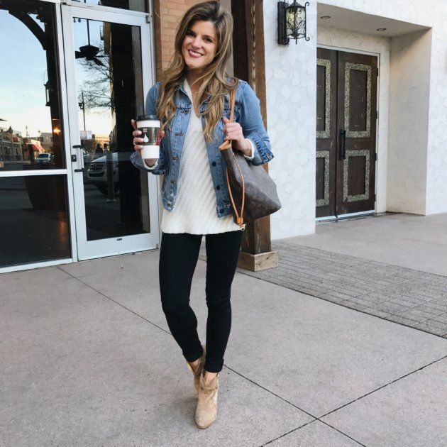 how to wear black jeans black jeans outfit with cream sweater, denim  jacket, brown