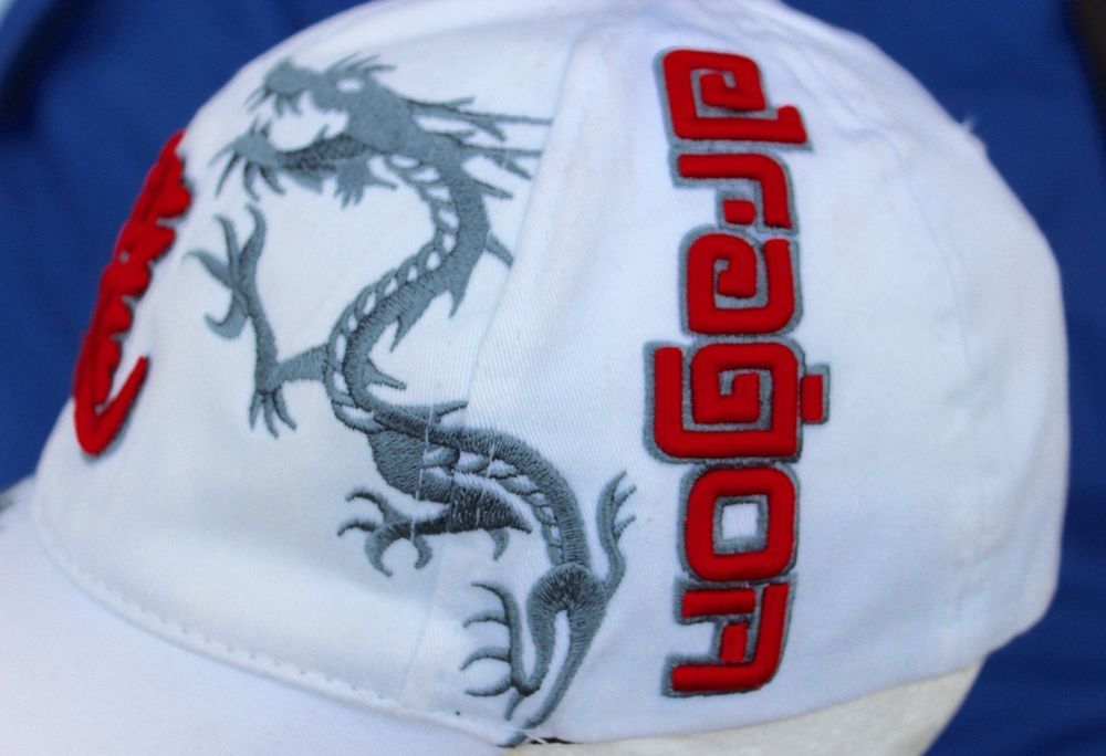 9208f3940af Dragon Flexfit Baseball Cap Size Med Dragons White Hat Red Chinese  Characters Chinese Characters