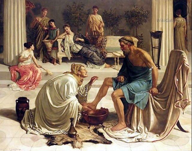 Sir Edward John Poynter - Ulysses recognized by his old wet-nurse, Eurycleia. Tags: odyssey, ulysses, odysseus, eurycleia, eurykleia,