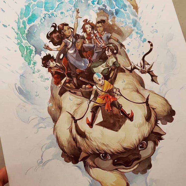 "Mundo Avatar | Portal Geek on Instagram: ""Olha que arte linda da gaang! #avatar #fanart"" #avatarthelastairbender"
