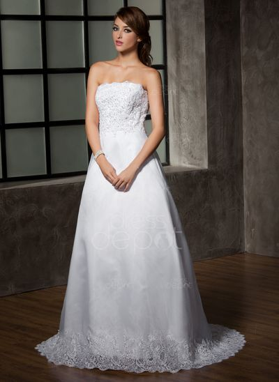 A-Line/Princess Strapless Court Train Organza Satin Wedding Dress With Lace Beading Pleated (002001223) http://www.dressdepot.com/A-Line-Princess-Strapless-Court-Train-Organza-Satin-Wedding-Dress-With-Lace-Beading-Pleated-002001223-g1223 Wedding Dress Wedding Dresses #WeddingDress #WeddingDresses