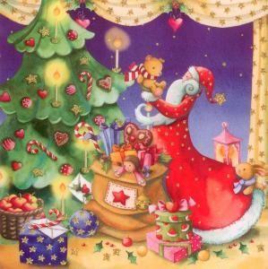 Nostalgische Weihnachtsmotive.Gollong Nikolaus Mit Weihnachtsbaum Nina Chen Postkarte