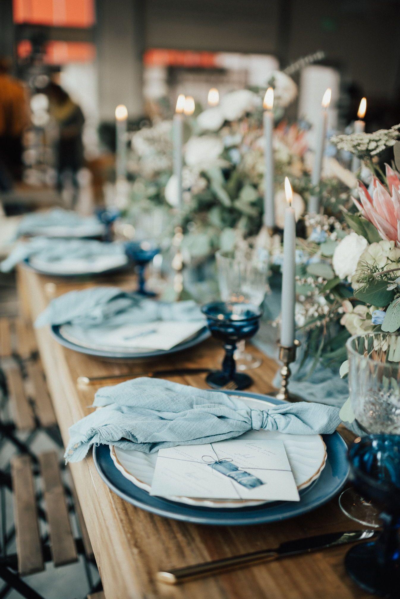 Boho Glam Bridal Inspo As Seen From Couture Colorado Rue De Seine Gown A Be Bridal Shop Wedding Table Settings Blue Table Settings Blue Wedding Receptions