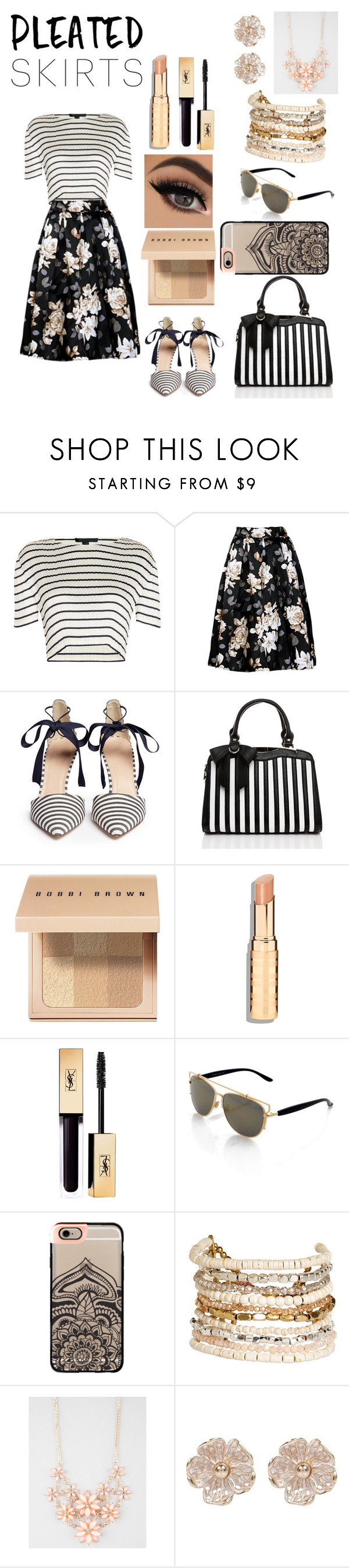 """""""Untitled #124"""" by fashionforwardfaith ❤ liked on Polyvore featuring Alexander Wang, J.Crew, Bobbi Brown Cosmetics, Casetify, Panacea, Full Tilt, River Island and pleatedskirts"""