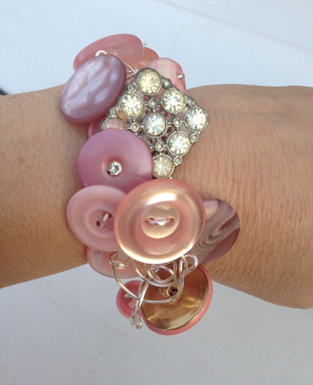 Pink Champagne Vintage Button Bracelet . $25.00, via Etsy.