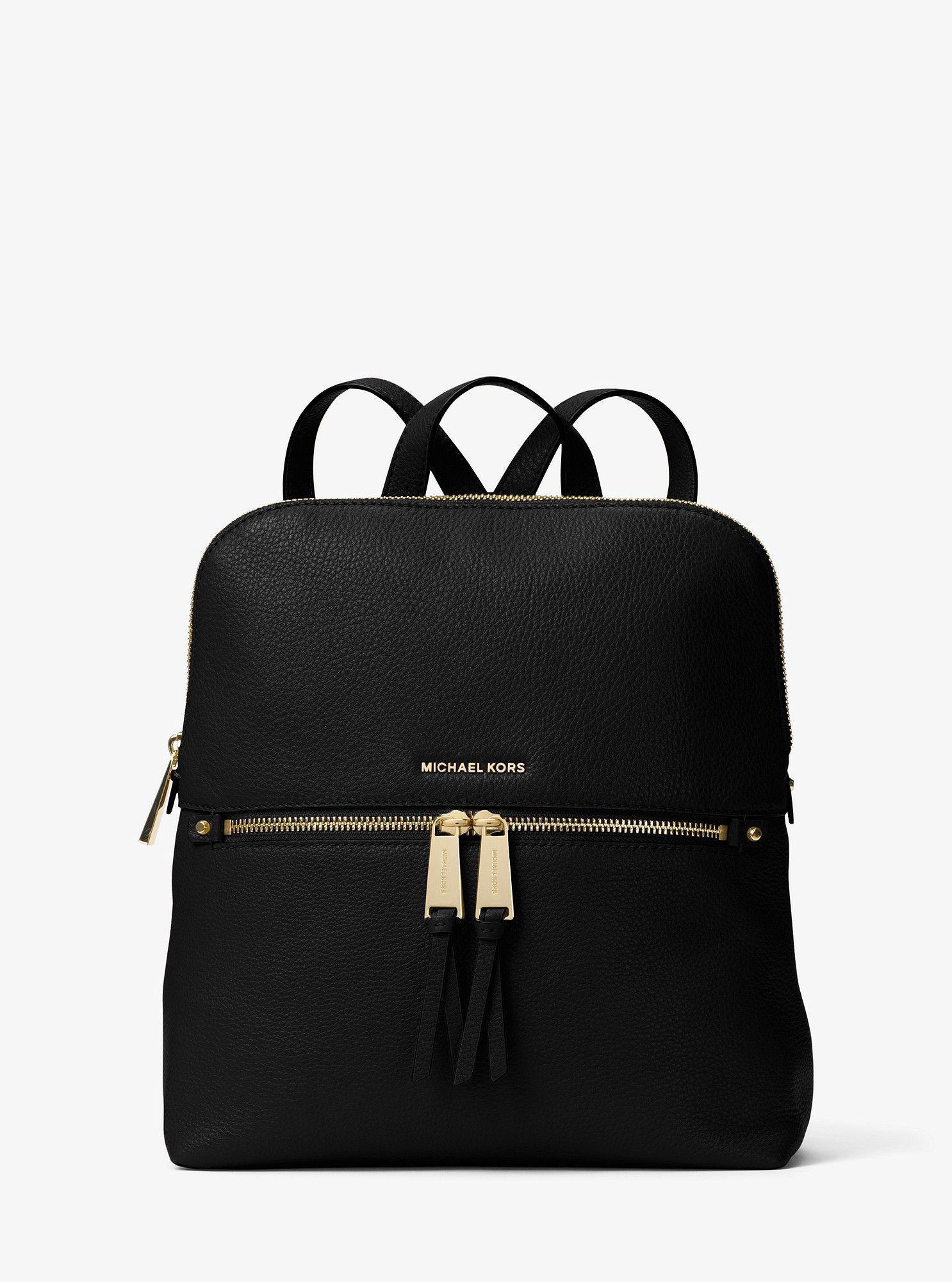 d0d322180f0a Michael Kors Rhea Medium Slim Leather Backpack - Acorn One Size