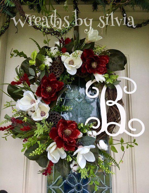 Photo of Personalized magnolia grapevine wreath, everyday wreath, all season wreath, red white magnoli…