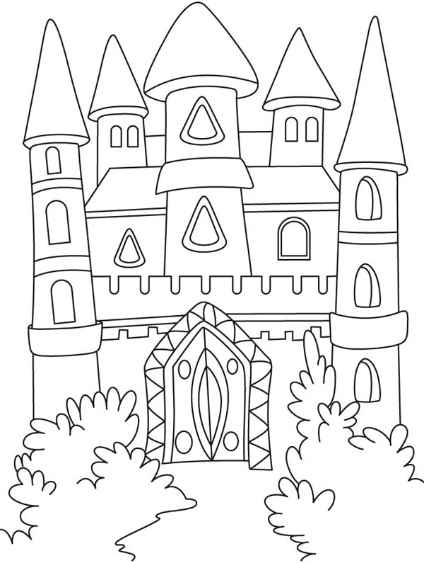 Front Yard Of Medieval Castle Coloring Page Kids Play Color Castle Coloring Page Forest Coloring Pages Princess Coloring Pages