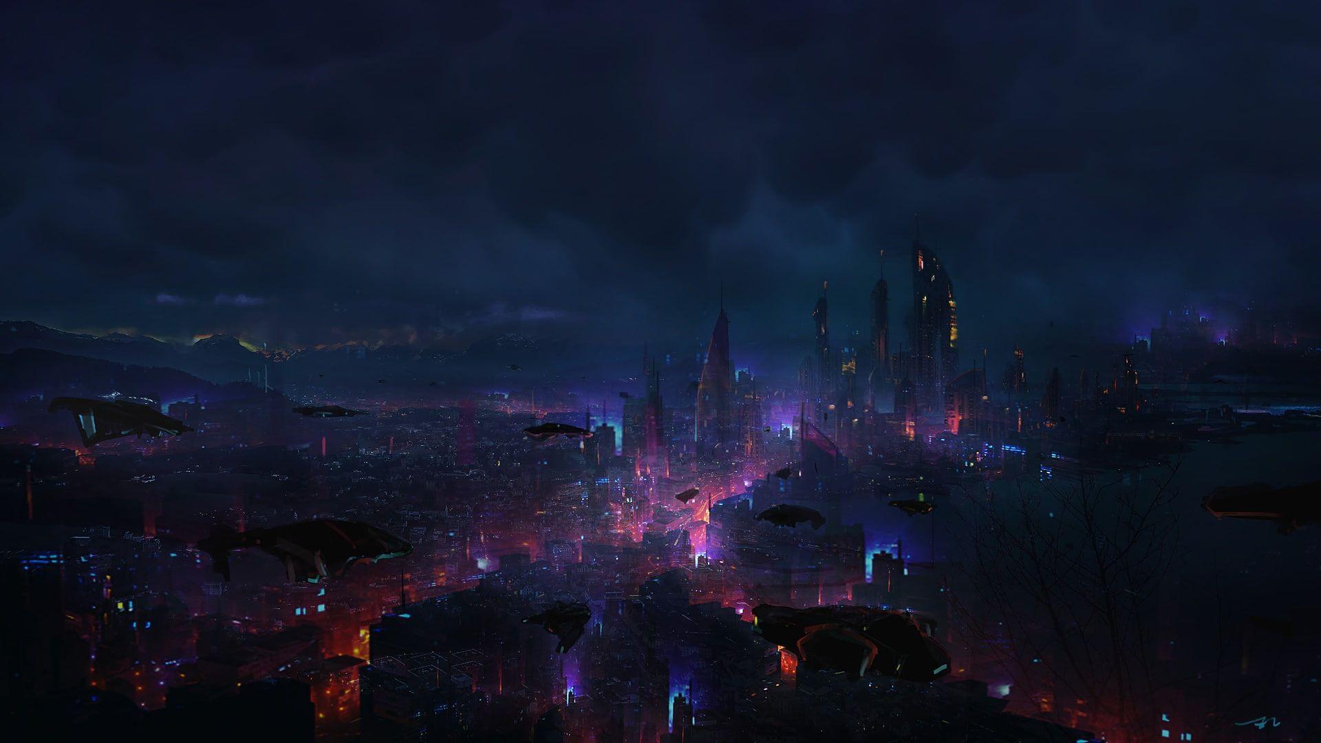 Dark Futuristic City Digital Art Science Fiction Eric Lee 1080p Wallpaper Hdwallp Cyberpunk 2077 Night City Wallpaper City Wallpaper Cyberpunk Wallpaper 4k