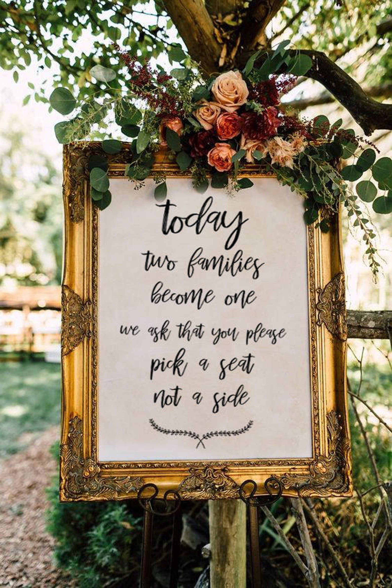 Pick a seat not a side Wedding Sign Printable Wedding Sign