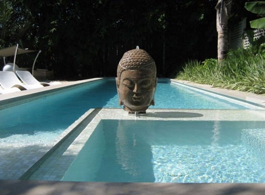 Extraordinary Residential Indoor Pool Designs: Fair Pool Design Ideas For Small Yard Superb Elegant Design Retreat Home Apartment The Buddha Heads Center Point Bond With Pool Side Tropical Coconut Tree Wall Side Bushes Fine Inspiration Of Natural And Elegant Houses ~ iamsaul.com Architecture Inspiration