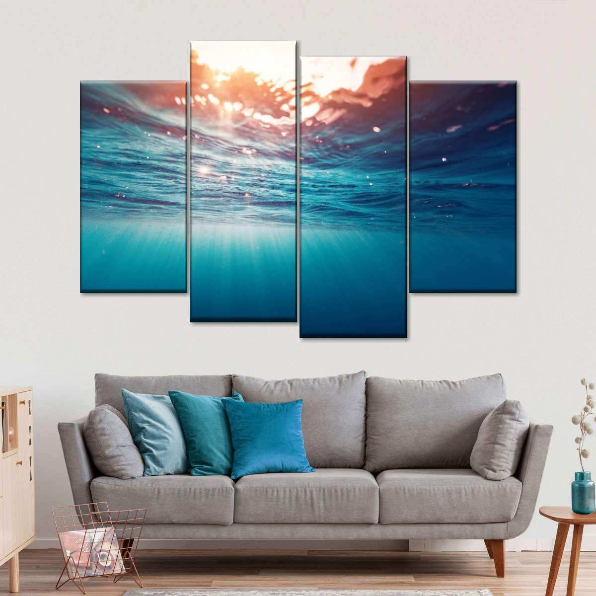 Underwater Sunrays Multi Panel Canvas Wall Art is a great way to unwind and relax no matter what situation you are in. Take the pleasure of blue water and soft sand with this beautiful canvas art print.
