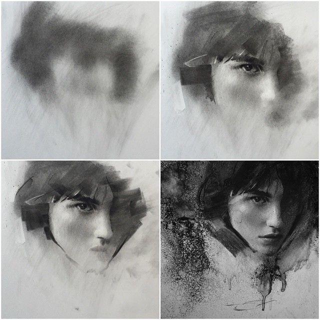 Charcoal progression. ➰ 2 hours #art #charcoal (model - @langleyfox )