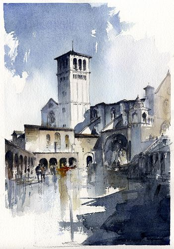 Assisi Watercolor Architecture Watercolor Landscape Watercolor