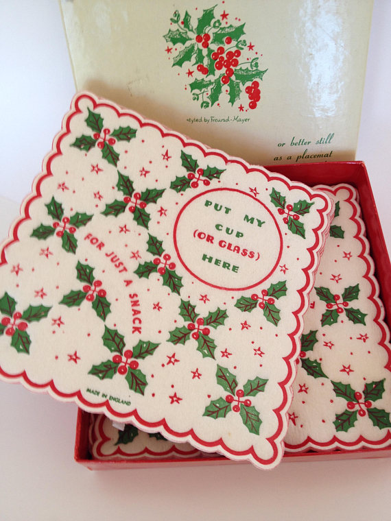vintage christmas cocktail paper coasters retro party