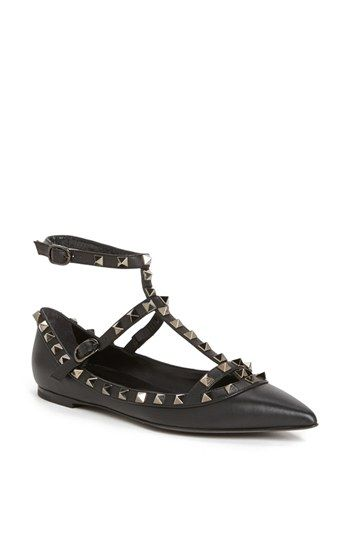 7860065f7ba6 Valentino  Rockstud  Double Ankle Strap Pointy Toe Flat available at   Nordstrom