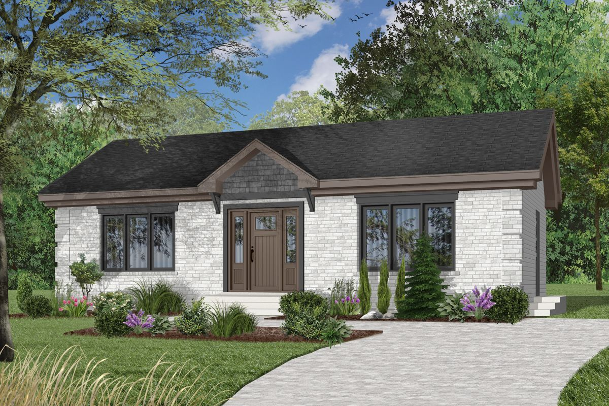Plan 21271dr Simple 2 Bedroom House Plan Drummond House Plans House Plans Cottage Plan