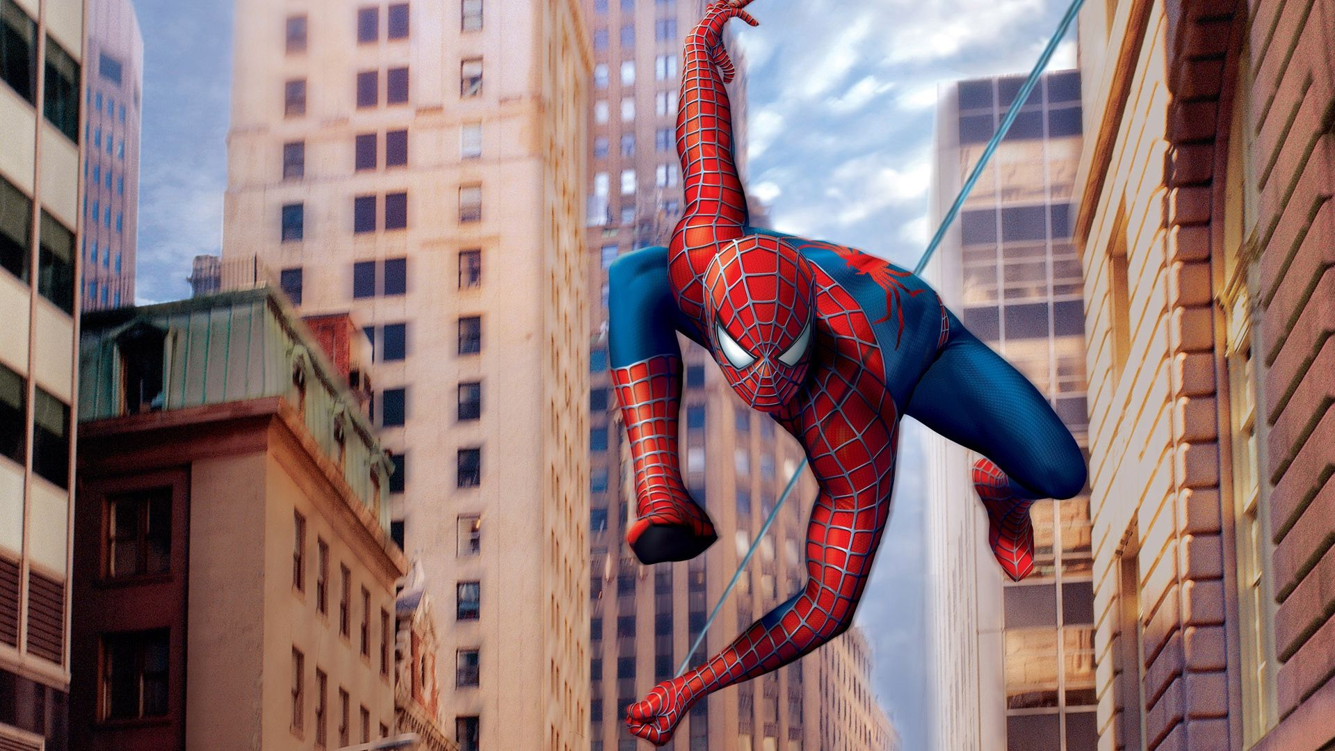 spider man cartoon hanging with webs high definition wallpapers hd