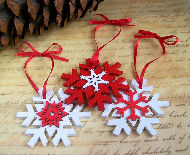 Snowflake Christmas decorations by art angel 1, via Flickr- cream instead of white