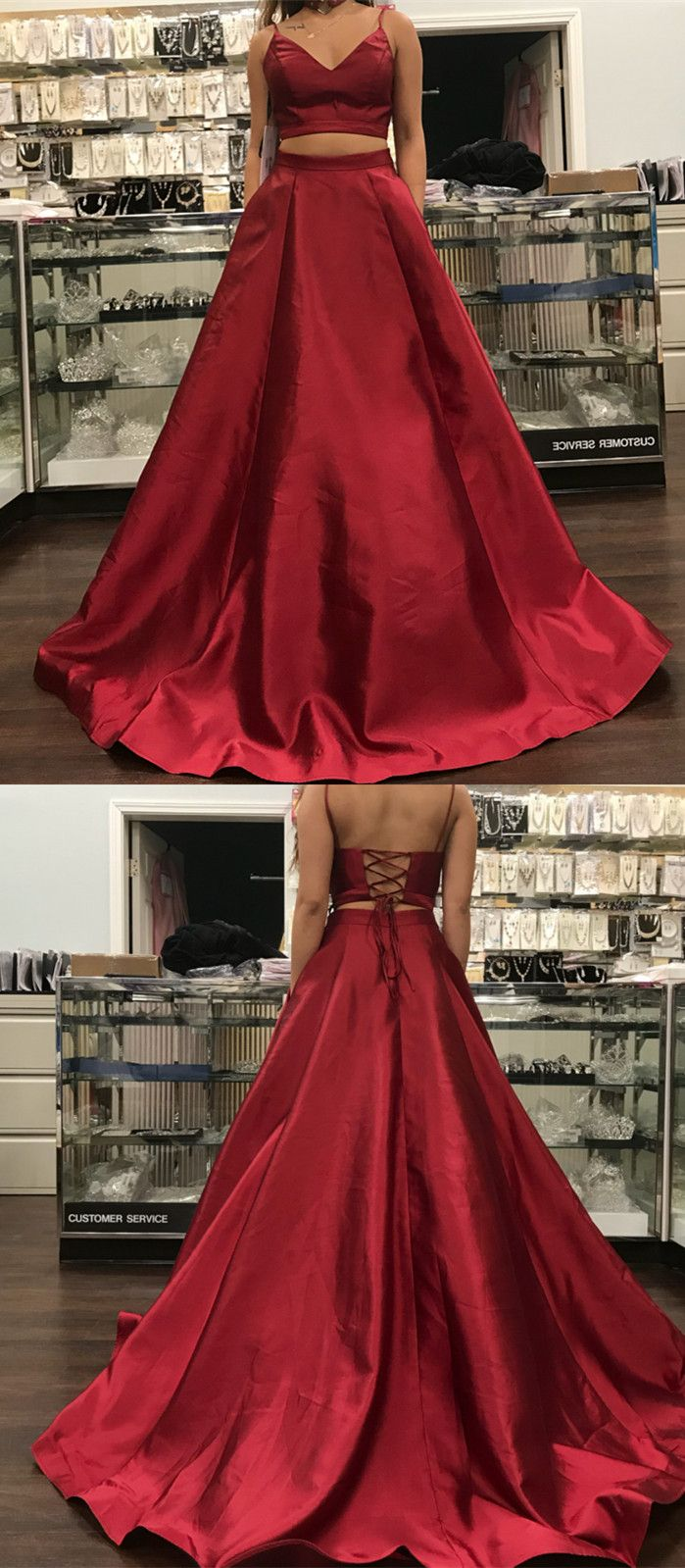 Spaghetti straps vneck long satin prom dresses two piece prom