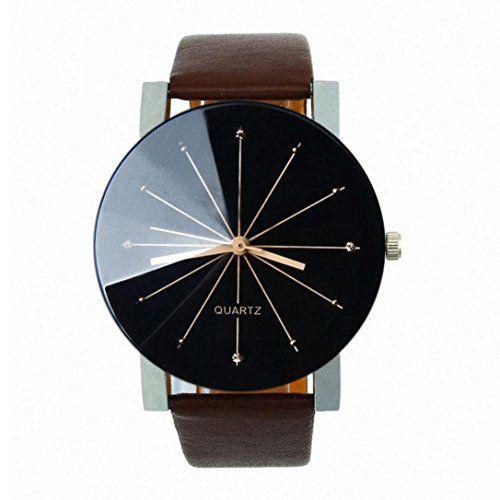 Armbanduhr am arm herren  Ularma Herren Quarz Armbanduhr Kunstleder Runde Gehäuse Analog Uhr ...