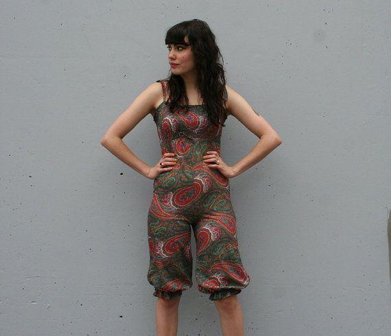 Pretty Paisley - 70s Ethnic Metallic Crop Jumpsuit