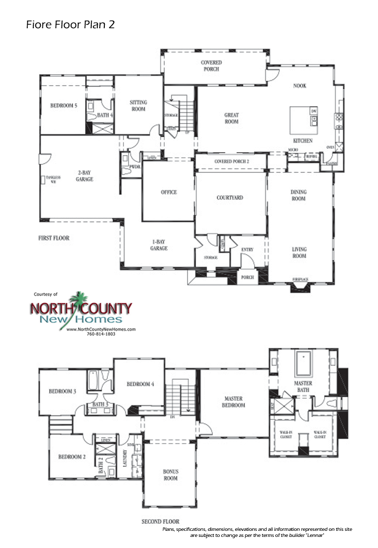 Fiore  Floor Plans New Homes In Encinitas  Cool Houseplans Awesome 5 Bedroom Home Designs Decorating Inspiration