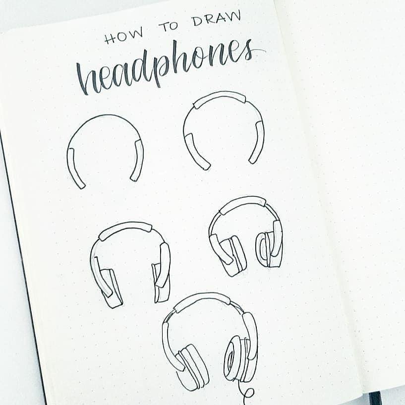 How To Draw Headphones Headphones Drawing Headphones Art Doodling Tutorial
