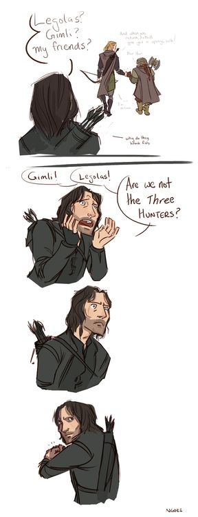 Aragorn is watching Legolas and Gimli fistbump and chat ...